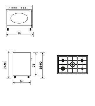 Dessin technique Cuisinière rustique électrique catalyse 80 x 50 cm noire/inox - GU850CER - Glem Gas