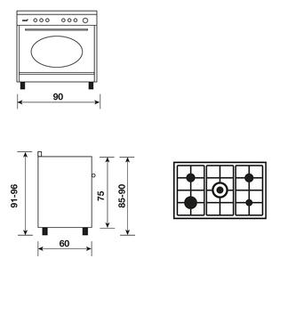 Dessin technique Cuisinière rustique gaz catalyse 90 x 60 cm noire/inox - GU960CMR2 - Glem Gas