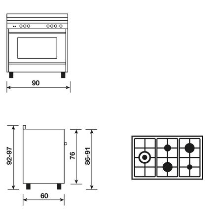 Dessin technique Cuisinière mixte catalyse 90 x 60 cm rouge rubis - GX960CVBR - Glem Gas