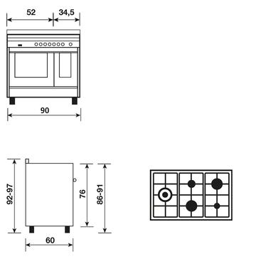 Dessin technique CUISINIÈRE MIXTE DOUBLE FOUR CATALYSE ROUGE INOX 90x60 CM - GXD96CVIX - Glem Gas