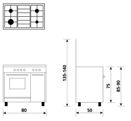 Disegno tecnico Forno Gas + Grill Elettrico        - AS854GI - Glem Gas