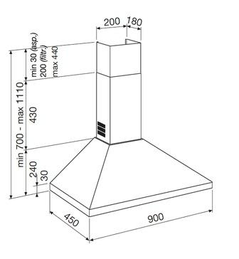 Technical drawing WALL CHIMNEY HOOD - GHP940BK - Glem Gas