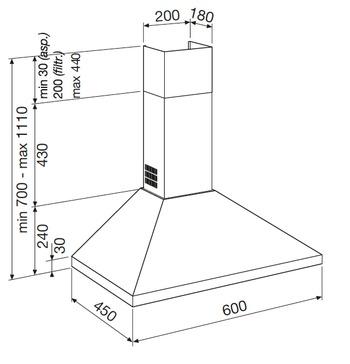 Technical drawing WALL CHIMNEY HOOD - GHP640IX - Glem Gas