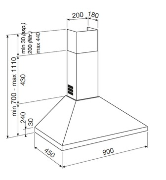 Diseño técnico CAMPANA TIPO CHIMENEA A PARED - GHP980IX - Glem Gas