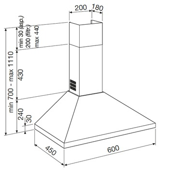 Diseño técnico CAMPANA TIPO CHIMENEA A PARED - GHP680IX - Glem Gas