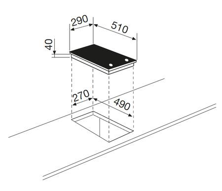 Disegno tecnico Piano cottura in vetroceramica - GTH32M - Glem Gas