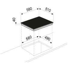 Disegno tecnico Piano cottura in vetroceramica - GTH64TCIXN - Glem Gas