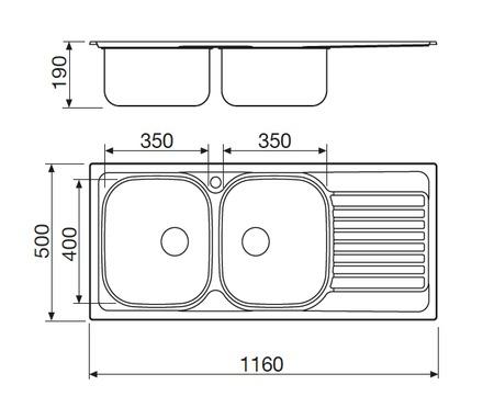 Disegno tecnico Lavello Inox - L2G16XS2 - Glem Gas