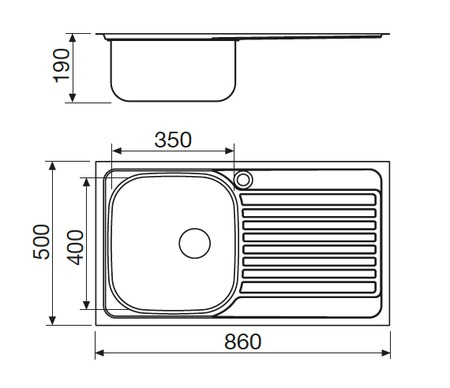 Disegno tecnico Lavello Inox - L1G86XS2 - Glem Gas