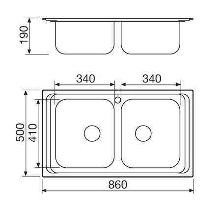 Disegno tecnico Lavello Inox - L286X2 - Glem Gas