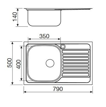 Disegno tecnico Lavello Inox - GL179XS - Glem Gas