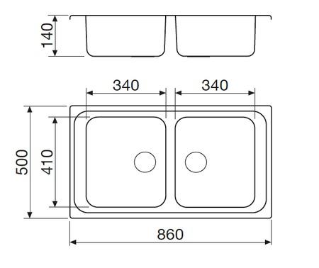Disegno tecnico Lavello Inox - GL286IX - Glem Gas