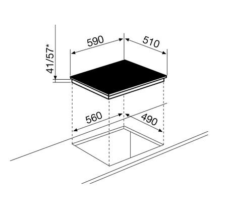 Dessin technique Table vitrocéramique 3 foyers 60 cm - GTH63S - Glem Gas