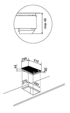 Dessin technique DOMINO VITROCÉRAMIQUE - GTH32M - Glem Gas