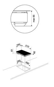 Dessin technique Domino vitrocéramique - GTH320SN - Glem Gas
