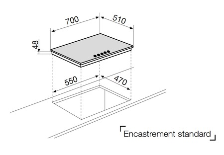 Dessin technique Tables verre - GV755HBK - Glem Gas