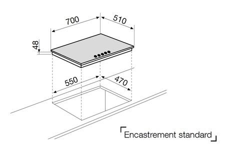 Dessin technique Tables verre - GV755BK - Glem Gas