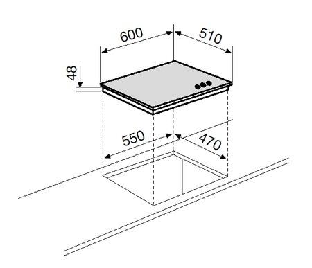Dessin technique Tables verre - GV635HBK - Glem Gas