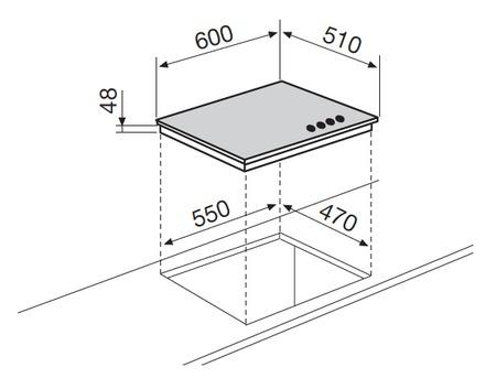 Dessin technique Table verre gaz 4 foyers 60 cm noire - GV64BK - Glem Gas