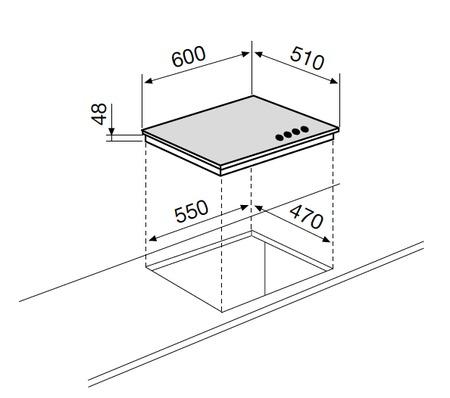 Dessin technique Table verre mixte 3+1 60 cm blanche - GV647WH - Glem Gas