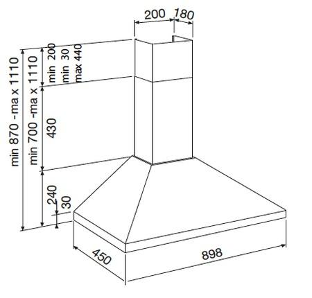 Dessin technique HOTTE MURALE PYRAMIDE 90 CM - GHP941IX - Glem Gas