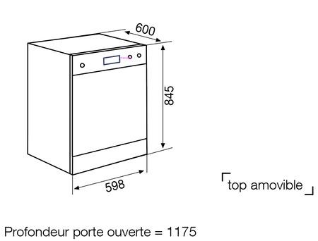 Dessin technique Lave-vaisselle pose libre 60 cm blanc - GDF622WH - Glem Gas