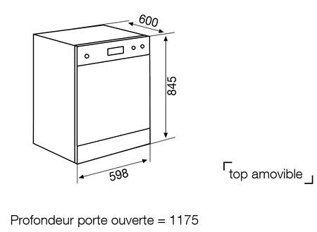 Dessin technique Lave-vaisselle pose libre 60 cm silver - GDF622SI - Glem Gas