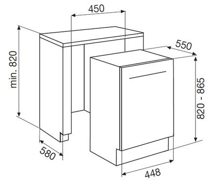 Dessin technique Lave-vaisselle tout intégrable 45 cm - GDI405 - Glem Gas
