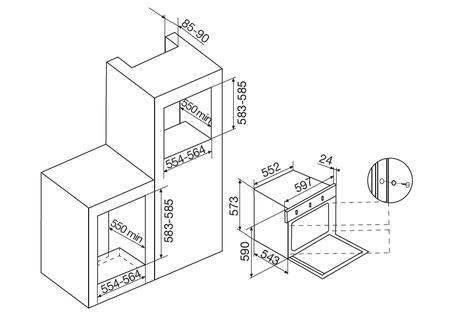 Desenho técnico Forno elétrico multifunções - GFS97IXN - Glem Gas