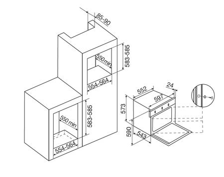 Desenho técnico Forno elétrico multifunções - GFS57IX - Glem Gas