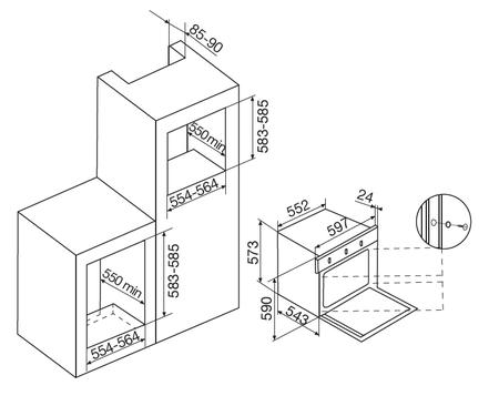 Desenho técnico Forno elétrico multifunções - GFO57IXN - Glem Gas