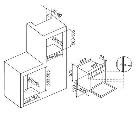 Desenho técnico Forno elétrico estático - GFO41IXN - Glem Gas