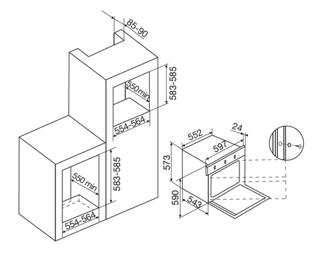 Desenho técnico Forno elétrico multifunções - GFO52IXN - Glem Gas