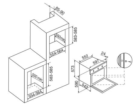 Desenho técnico Forno a gás - GFOF31IX - Glem Gas