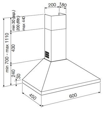 Desenho técnico Chaminé de parede - GHP640IX - Glem Gas