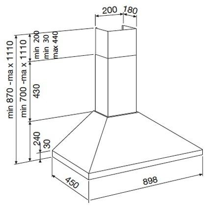 Desenho técnico Chaminé de parede - GHP940IX - Glem Gas