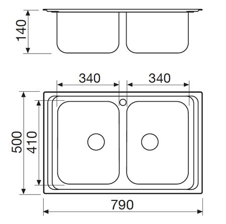Disegno tecnico Lavello Inox - GL279X - Glem Gas