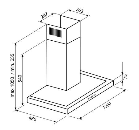 Desenho técnico Chaminé de parede - GHB211IX - Glem Gas