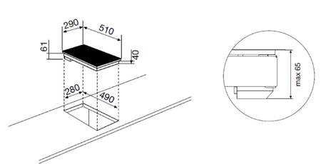 Desenho técnico Placa vitrocerâmica 30 - GTH320SN - Glem Gas