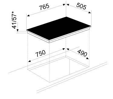Desenho técnico Placa vitrocerâmica 75 - GTH75TCN - Glem Gas
