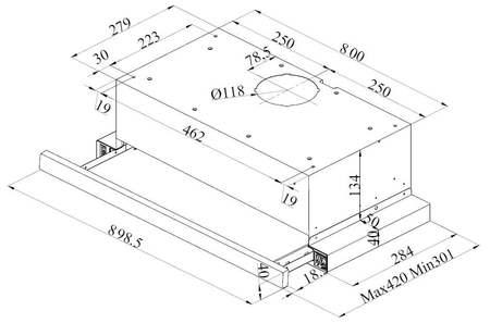 Desenho técnico Exaustor telescópico - GHT920SXX - Glem Gas