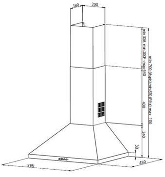 Desenho técnico Chaminé de parede - GHP740IX - Glem Gas