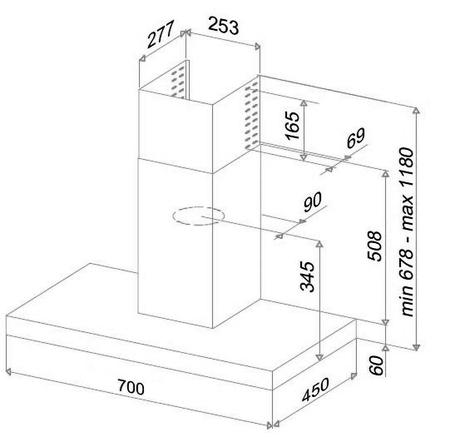 Desenho técnico Chaminé de parede - GHB78IX - Glem Gas