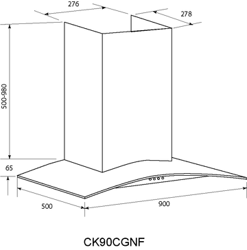 Technical drawing 90 cm Stainless Steel Curved Glass canopy - CK90CGNF - Glem Gas