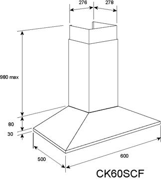 Technical drawing 60cm Stainless Steel Slim Line Low Profile Rangehood  - CK60SCF - Glem Gas