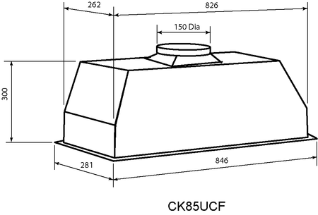 Technical drawing 85cm Commercial style under Mount Rangehood - CK85UCF - Glem Gas