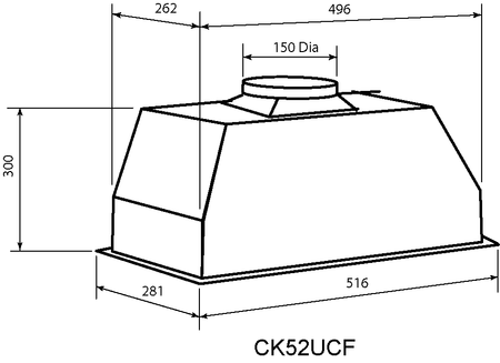 Technical drawing 52cm Commercial style under mount rangehood - CK52UCF - Glem Gas