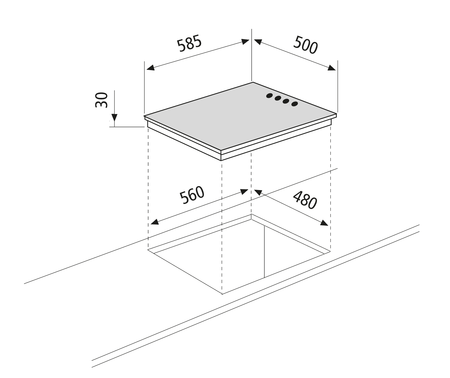 Dessin technique Table de cuisson électrique  - GTL640IX - Glem Gas