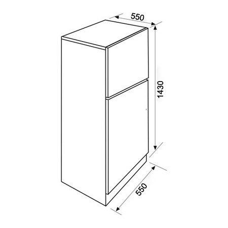 Dessin technique Réfrigérateur congélateur 2 portes pose libre 143 cm blanc - GRF210WH - Glem Gas