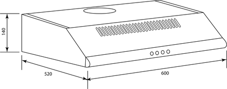 Technical drawing 60 cm SS fixed rangehood - CK60FXF - Glem Gas